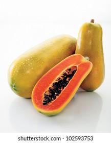 papaya over white background