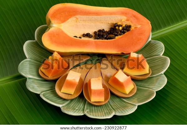 Papaya, Pawpaw, Tree melon (Carica papaya L.) Papaya dessert on plate, Fruits for Healthy Eating.