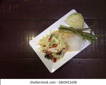 papaya pok pok and vermicelli Thai cuisine spicy delicious