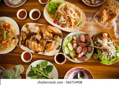 Papaya salad, grilled chicken and Sai krok isan Thai food in the northeastern provinces of Thailand.