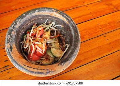 Papaya Salad in mortar