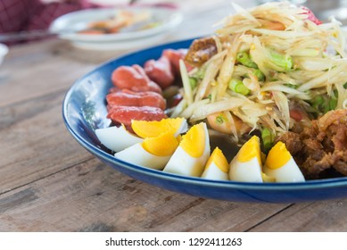 Papaya salad on the table in the restaurant.