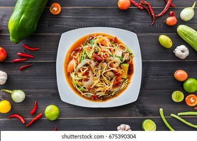 "Papaya salad with shrimp, famous Thai food, Thai Salad, ""Somtum"" cuisine, Background, Lao, Southeast Asia, somtam, green papaya, sweet, salty, tangy, and spicy flavor, recipe, street, Ingredients"