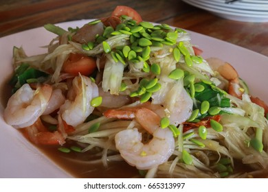 Papaya Salad with Shrimp.Thai spicy food that popular Thai Cuisine.