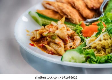 Papaya salad, Thai food in the northeastern provinces of Thailand.