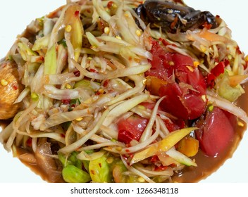 papaya salad in Thai style. in Picture is Som Tam Thai northeast. Very tasty, original Thai northeast style food.