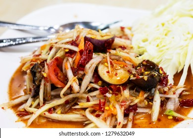 papaya salad in Thai style. in Picture is Som Tam Thai northeast. Very tasty, Thai northeast style food.