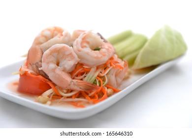 Papaya salad (traditional and modern thai food)