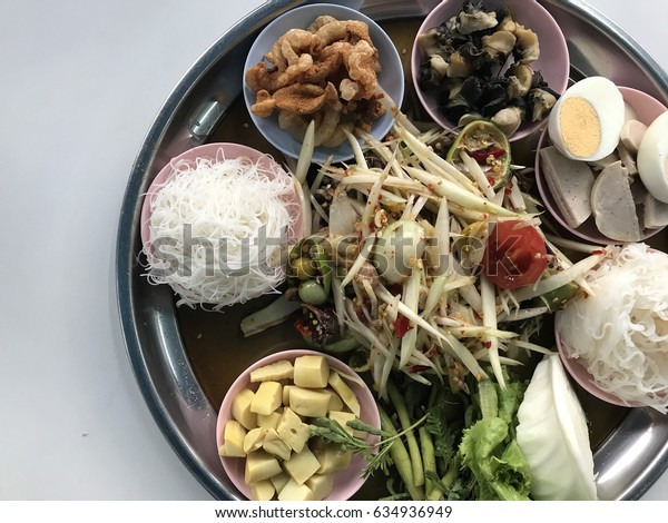 The papaya salad in a tray. Thailand traditional food.