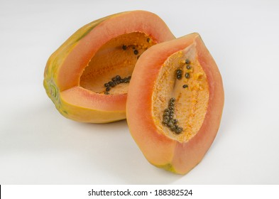 Papaya sliced Great tropical fruit that helps maintain a healthy bowel movement for its healthy enzymes