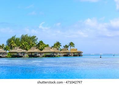 PAPEETE, FRENCH POLYNESIA - August 19, 2016 : The Beautiful sea and resort in Moorae Island at Tahiti PAPEETE, FRENCH POLYNESIA on August 19, 2016