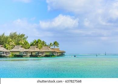 PAPEETE, FRENCH POLYNESIA - MAY 11, 2017 : The Beautiful sea and resort in Moorea Island at Tahiti PAPEETE, FRENCH POLYNESIA.