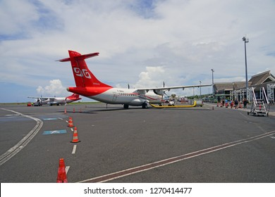 PAPEETE, TAHITI -10 DEC 2018- View of  an ATR regional jet airplane from the Air Tahiti airline (VT) at the the Tahiti Fa'a'a International Airport (PPT) on the island of Tahiti in French Polynesia.