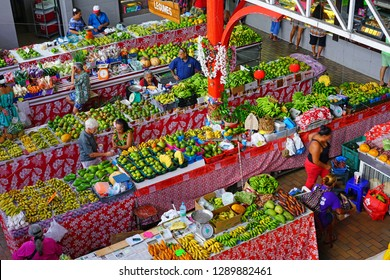 PAPEETE, TAHITI -30 NOV 2018- View of the landmark Marche de Paeete, a large covered public market selling local souvenirs, crafts and food in downtown Papeete, Tahiti, French Polynesia.