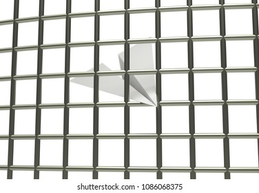 Paper airplane prison jail blocking 3d illustration isolated in white