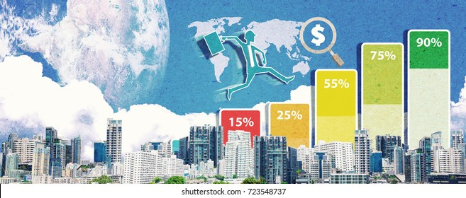Paper art of Business Growth with financial symbols : Business man run on the top of graph for success over the modern city, wide screen