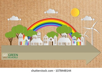 Paper art of landscape with Eco city and nature on craft paper background, GO GREEN SAVE THE WORLD concept
