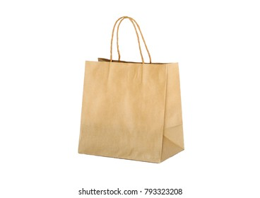 Paper bag brown isolated on white background.