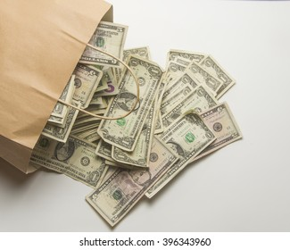 Paper bag with cash/Money /Cash spilling out