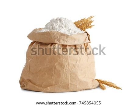 paper bag flour on white background の写真素材 今すぐ編集