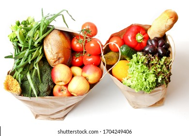 Paper Bag With Food Isolated On White Background. Delivery Service Concept. Top View, Flat Lay.