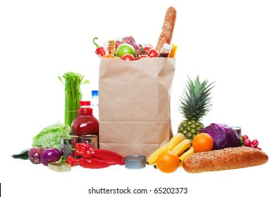 A paper bag full of groceries, surrounded by a panorama of fruits, vegetables, bread, bottled beverages, and canned goods.  White background with light drop shadow.