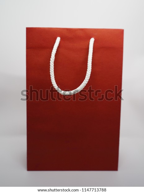 Paper bag hand made packaging design isolated on white background