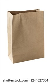 paper bag on isolated white background