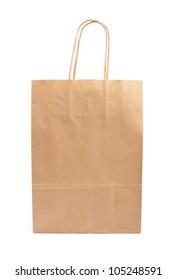 Paper bag on white background. Consumerism symbol.