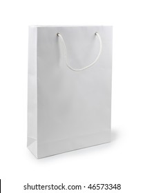 Paper bag on a white background. Isolated path included.