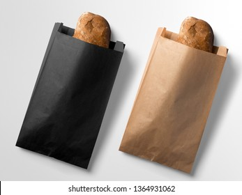 Paper Bag for sandwich on white wood background