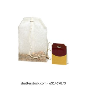 Paper bag of tea and label isolated on white background