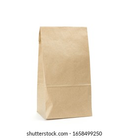 Paper bag without handles. Close up. Isolated on a white background.