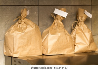 paper bags with a sticker