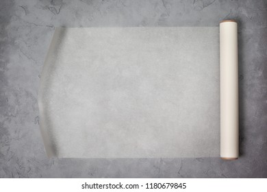 paper for baking on a gray concrete background. view from above. copy space