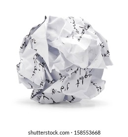Paper ball - Crumpled sheet of free hand script writing paper isolated ., A screwed up piece of paper in round shape., Junk paper can be recycle on white background.