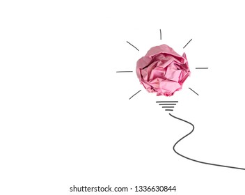 Paper ball with line painting as bulb for concept creative idea and innovation