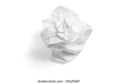 Paper Ball on Isolated White Background