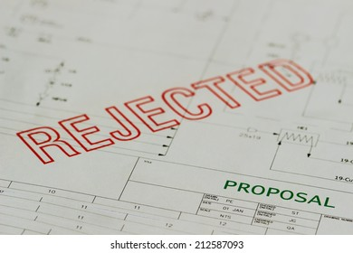 Paper based proposal, schematic or plan that has been red stamped as rejected.