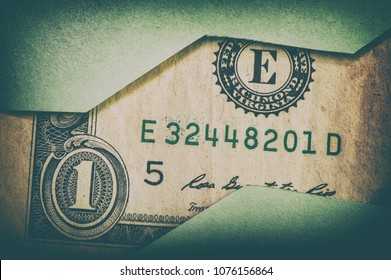paper bill is one American dollar and cut paper.