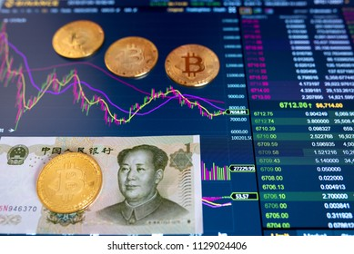 Paper bill Yuan one CNY, blurred background. The electronic schedule of bitcoin on the exchange, volume trades, on monitor lie gold coins bitcoin.