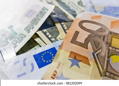 Paper bills International currency, euro, dollars, rubles