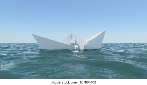 Paper Boat is broken into two parts, sinks in water. The sky on the background