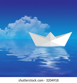 Paper Boat Floating on water in a dreamy weather