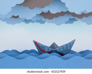 Paper boat made with financial document. Paper waves and clouds