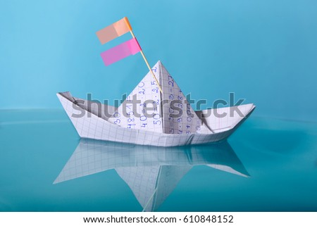 Paper Boat Made Mathematics Notebook Paper Stock Photo Edit Now