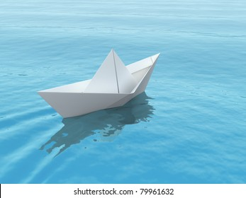 Paper boat on a blue sea. 3d illustration.