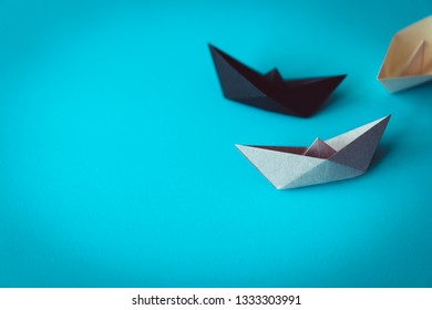paper boat on bright background with copy space, learning and education concept
