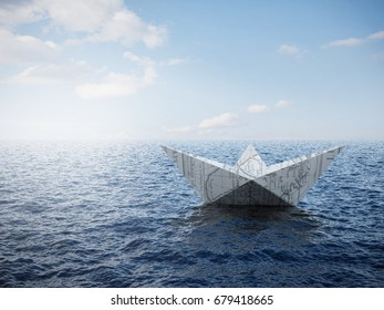 Paper Boat On The Ocean 3D render