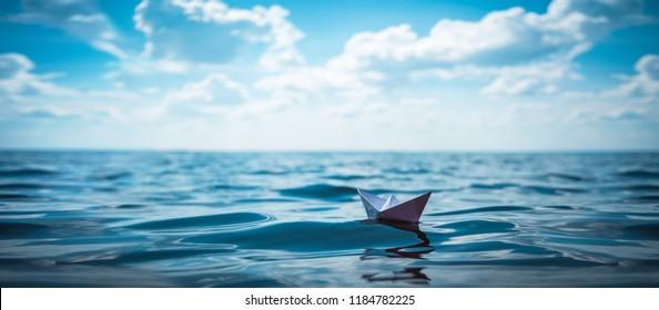 Paper Boat Panorama - Shutterstock ID 1184782225